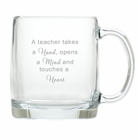 large teacher glass mug (hand mind heart)