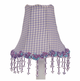 lavender check pearl flower chandelier shade