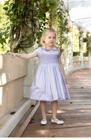 lavender hand smocked silk dress