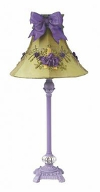 lavender scroll lamp-floral bouquet green bow shade