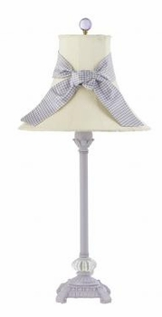 lavender scroll lamp-ivory shade
