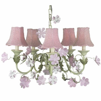 leaf and flower chandelier with pink beaded shades