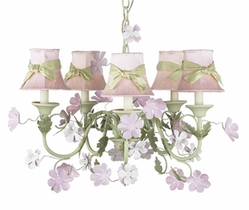 leaf and flower chandelier with pink shades