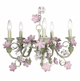 leaf and flower - pink & green chandelier