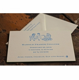 letterpress baby announcement - harry carriage