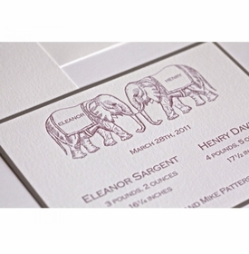 letterpress baby announcement - twin trunks