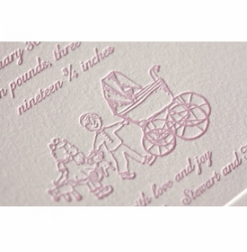 letterpress carriage baby announcement - imogen