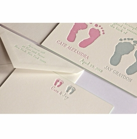 letterpress footprint baby announcement - cate & jay