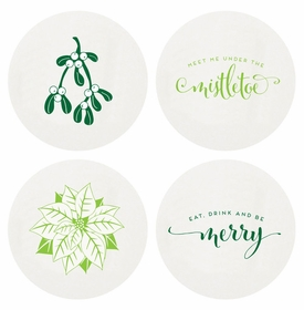 Letterpressed Mistletoe Coasters