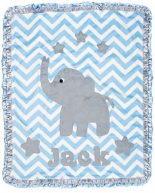 light blue chevron baby blanket with stars