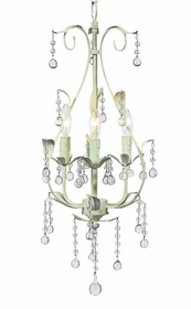 light green 3 arm pear chandelier