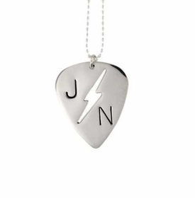 lightening bolt guitar pick necklace