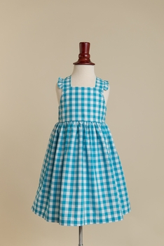 lillian dress - turquoise gingham