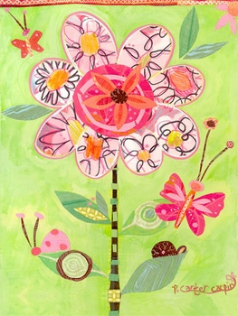 lime flower collage wall art