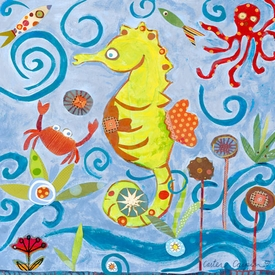 lime green sea horse wall art