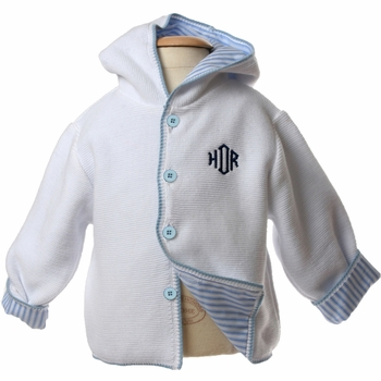 lined hooded cotton white sweater (baby blue lining)