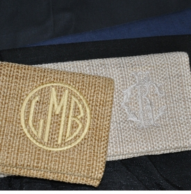 linen clutch with monogram