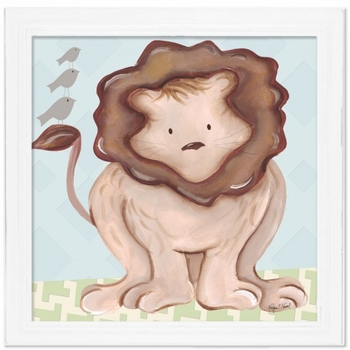 lion wall art - blue