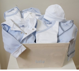 little boy blue layette gift basket