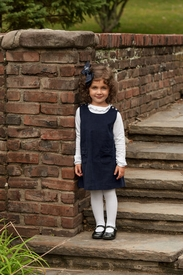 little girls navy cord jumper dress