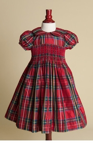 little girls� red plaid silk dress