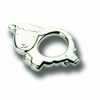 little sheep sterling silver baby rattle