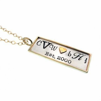 long sterling silver rectangle charm with 14k gold rim