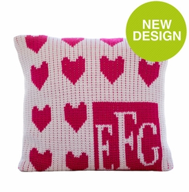 lots of hearts monogram pillow