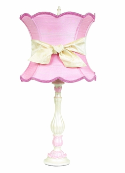 lotus lamp with pink scallop shade