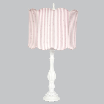 lotus lamp with pink/white stripe shade