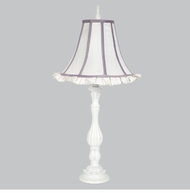 lotus lamp with white lavender trim ruffled shade