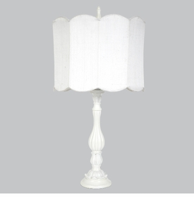 lotus lamp with white scalloped drum shade