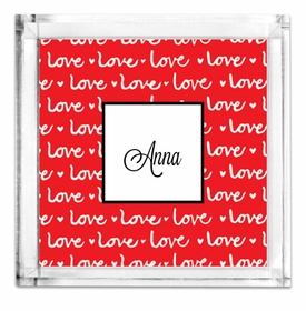 Lucite Petite Love Red Tray