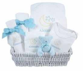 luxury baby gift basket - lullaby blue
