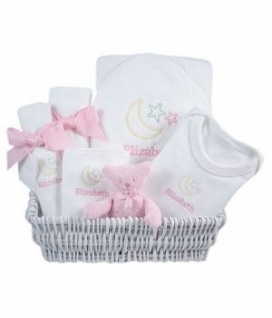 luxury baby gift basket - lullaby pink