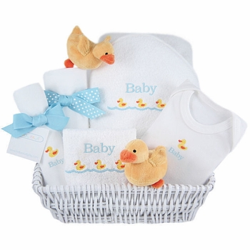 luxury baby gift basket - yellow ducks