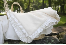 luxury receiving blanket with ruffle