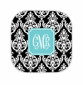 madison damask black hardback rounded coaster<br>(set of 4)