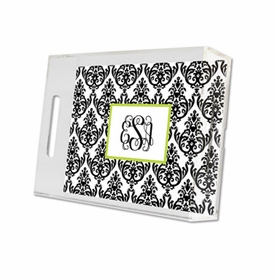 madison damask white with black lucite tray - small