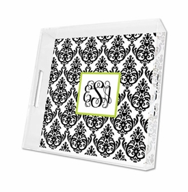 madison damask white with black lucite tray - square