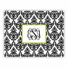 Madison Damask White With Black Small Lucite Tray Insert