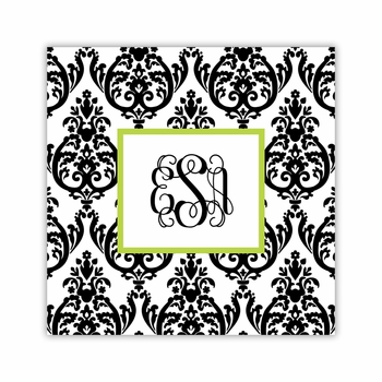 madison damask white with black square paper coaster<br>set of 50