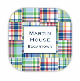 madras patch blue hardback rounded coaster<br>(set of 4)