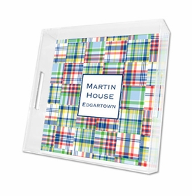 madras patch blue lucite tray - square