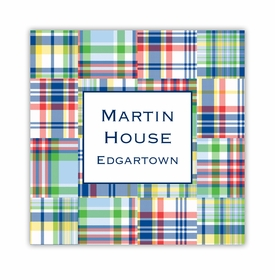 madras patch blue square paper coaster<br>set of 50