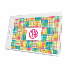 madras patch bright lucite tray - large