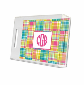 madras patch bright lucite tray - small