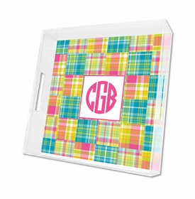 madras patch bright lucite tray - square