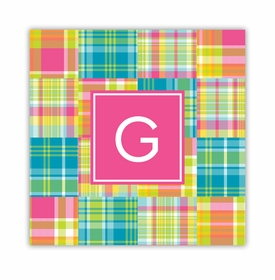 madras patch bright square paper coaster<br>set of 50