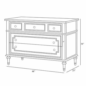 marcheline chest - white with silver gilding
